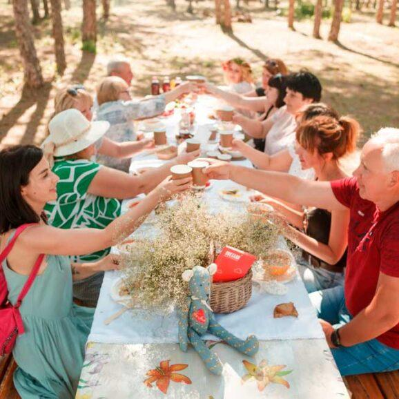 We organize a camping in a pine forest near the Danube